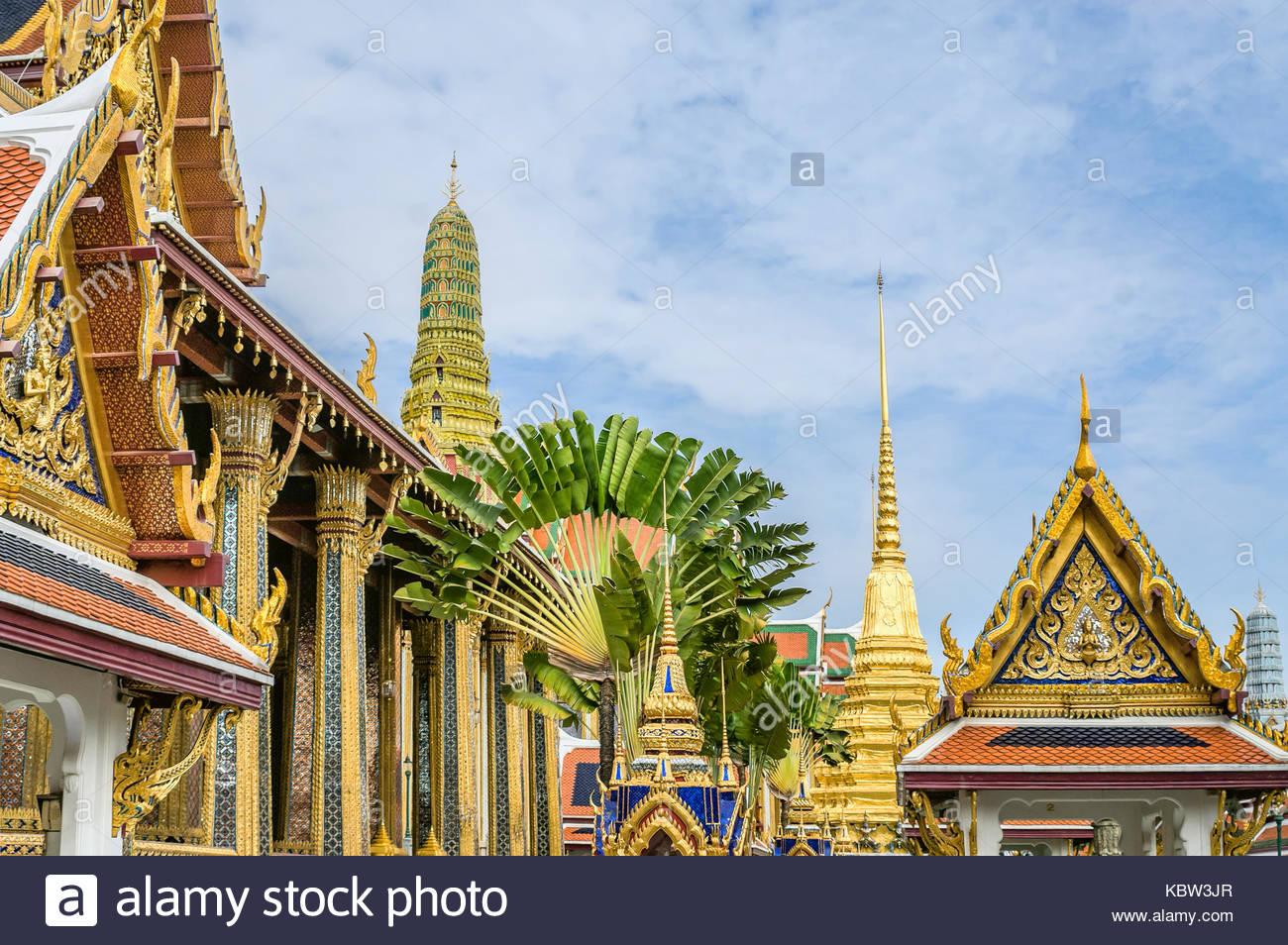 Wat Phra Kaeo- Temple of the Smaragd Buddha, the main landmark of Bangkok, Thailand - Stock Image