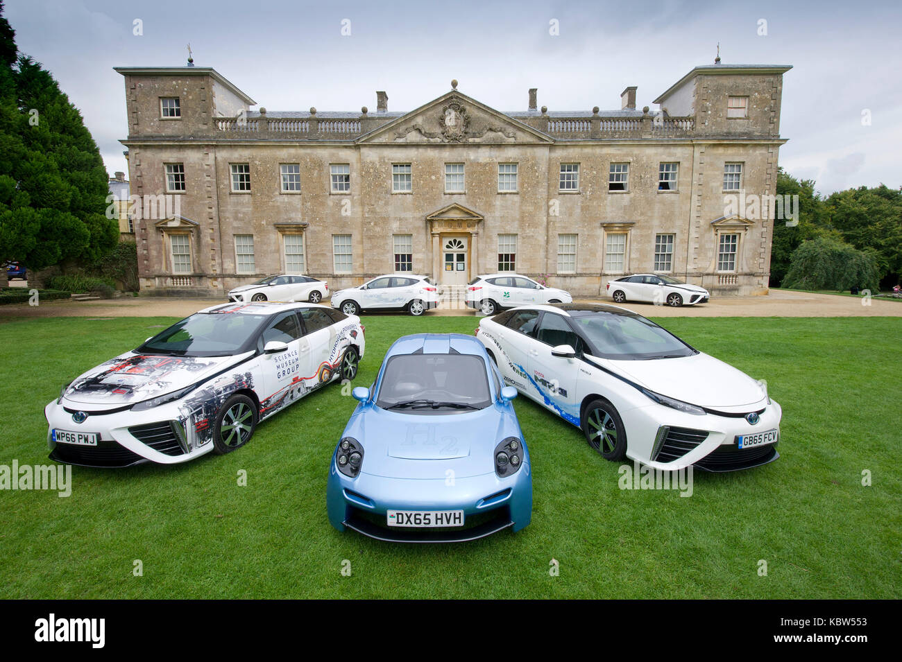 A selection of hydrogen powered cars including models from Riversimple (blue), Toyota, Hyundai and Honda - Stock Image