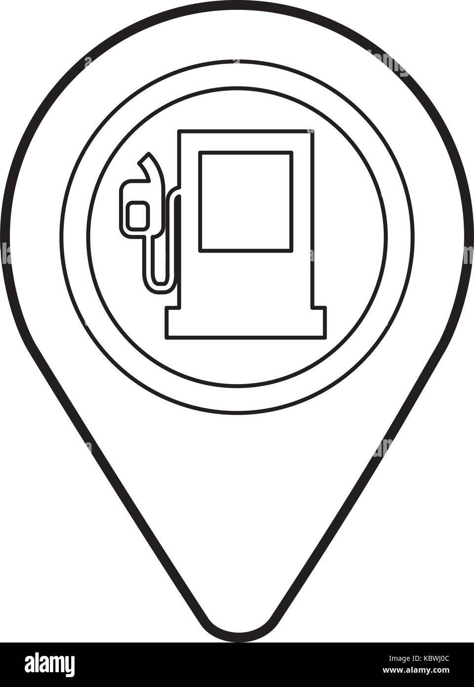 map pin with gas station application sign icon - Stock Image