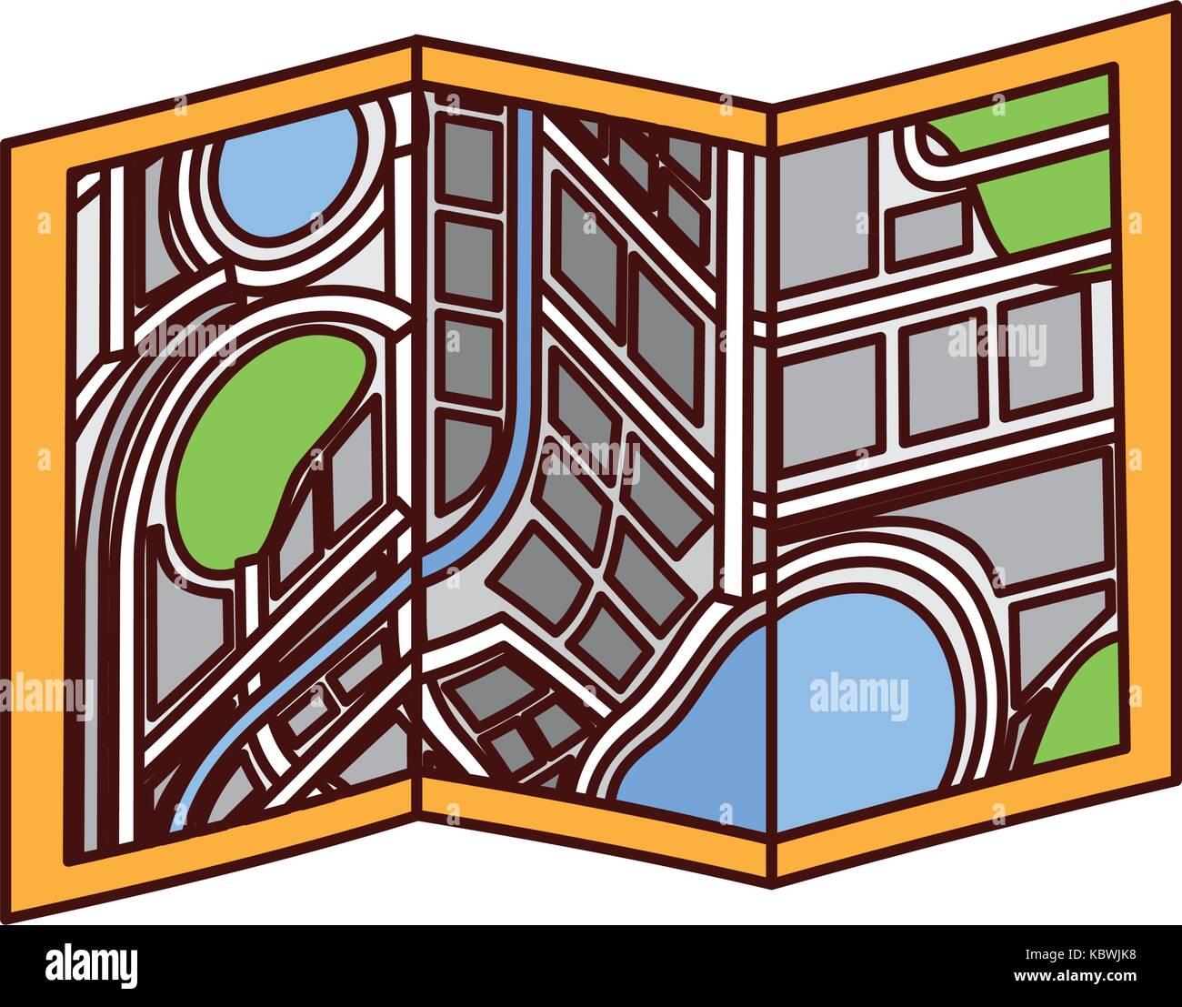 city map on folded paper cartography destination navegator - Stock Image