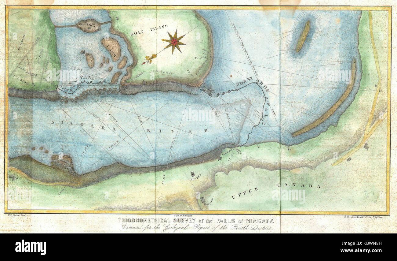 1843 Blackwell Map Of Niagara Falls New York Geographicus