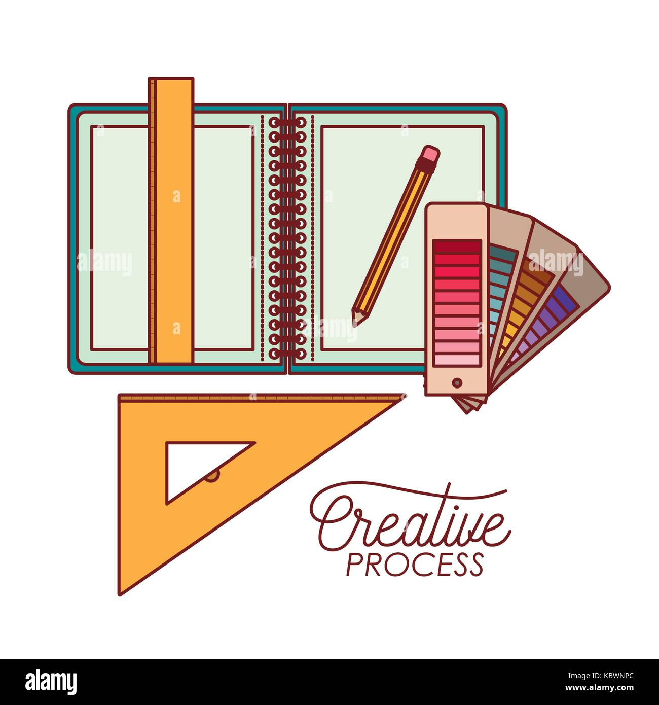 work elements graphic design creative process on white background - Stock Image
