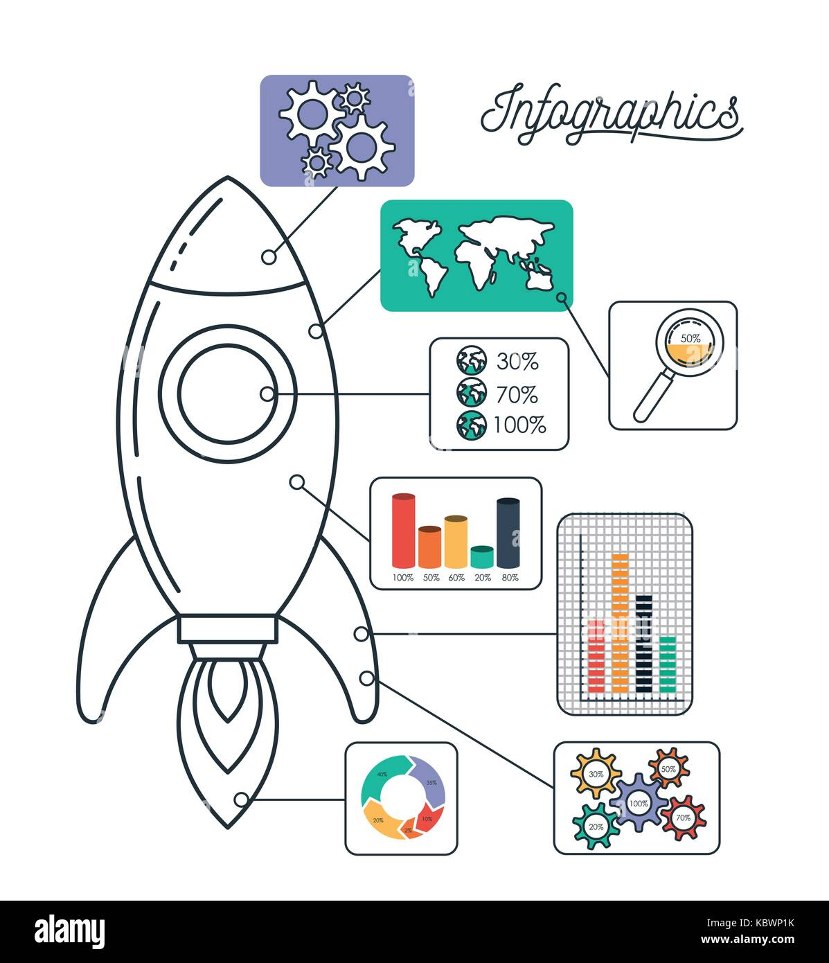 infographics and statistics with spacecraft - Stock Image