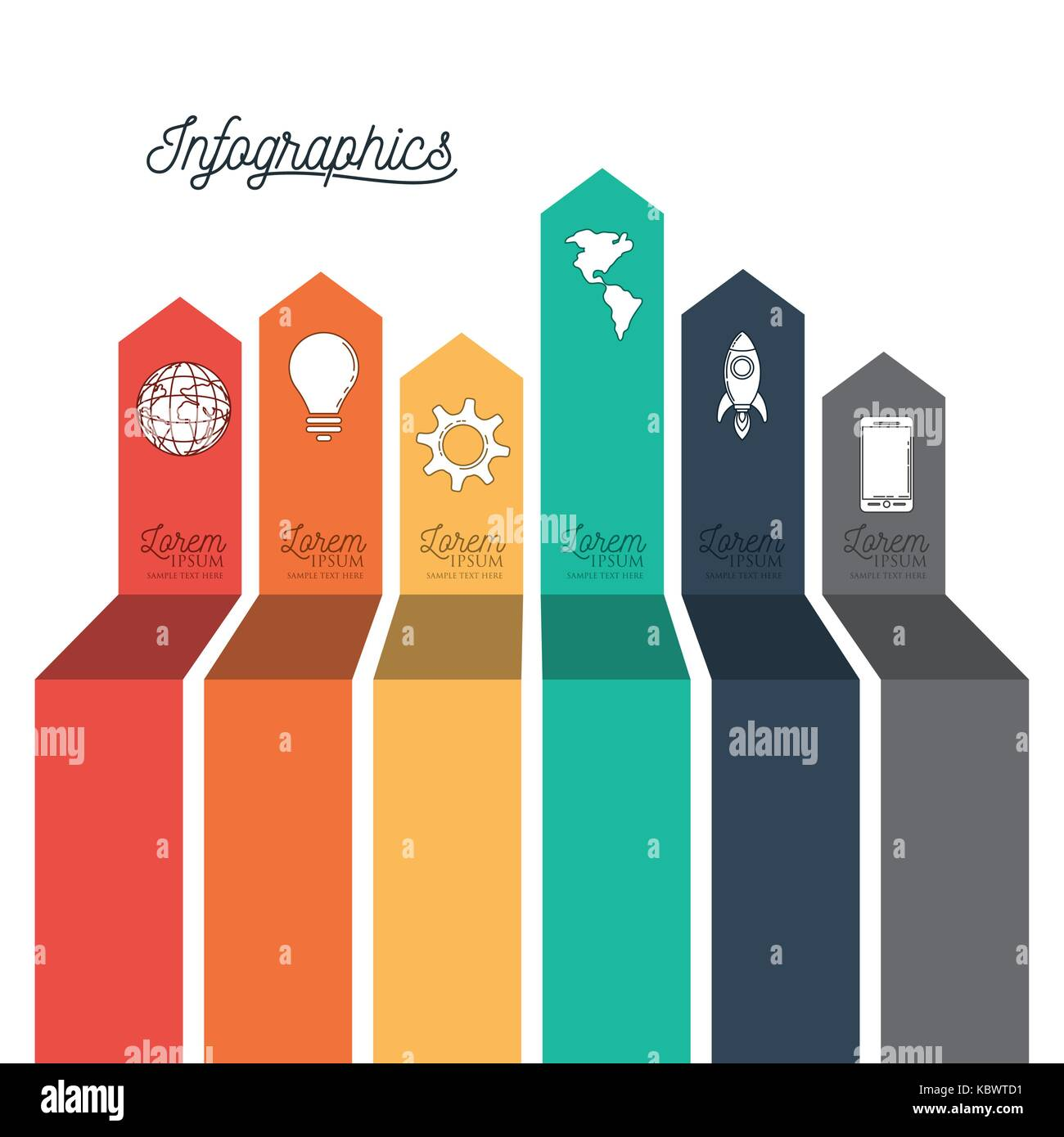 infographic with colorful labels icons with different sizes - Stock Image