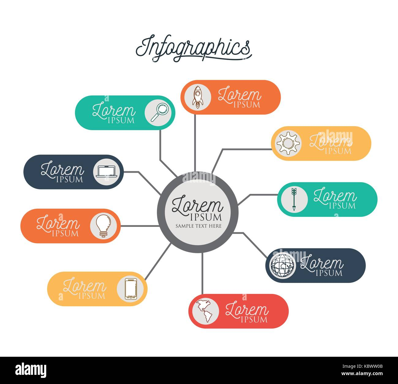 infographic with central circle connected to colorful horizontal labels bar around him Stock Vector