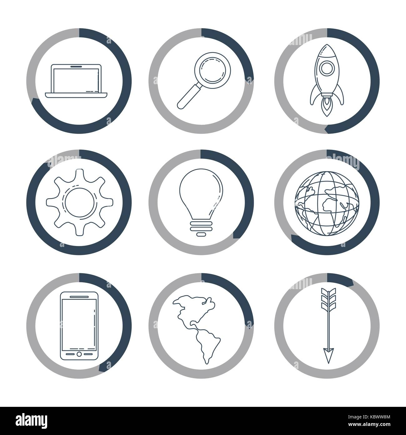 infographic monochrome with icons in circles - Stock Image