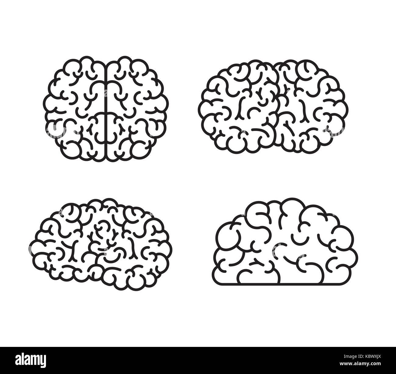 brain monochrome silhouettes several views - Stock Image