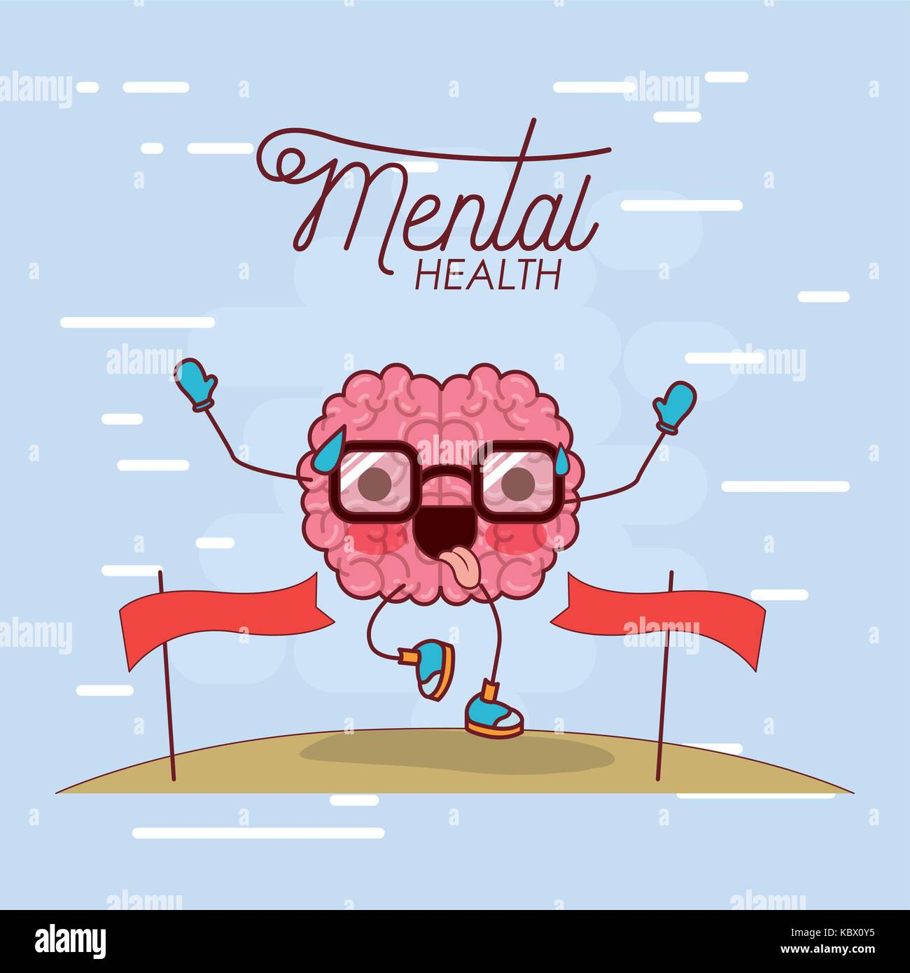mental health poster of brain cartoon with glasses running and pass finishing line and background light blue - Stock Image