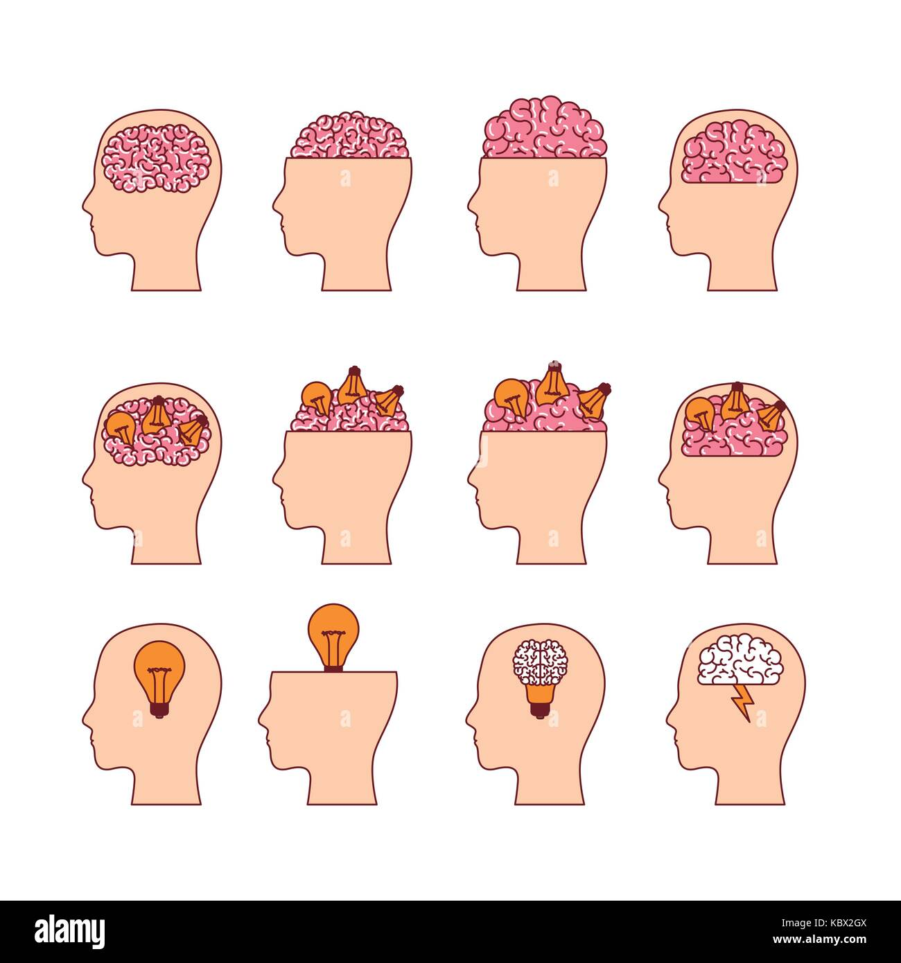 set of heads with brains in white background - Stock Image