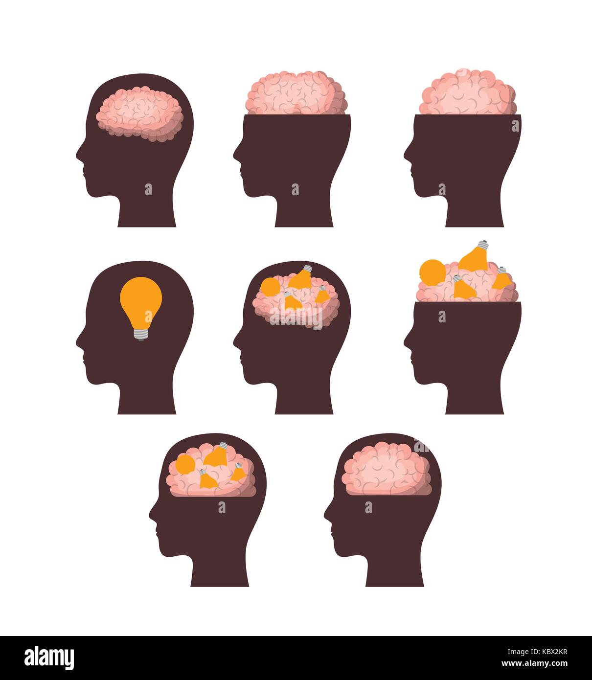 set of heads brown silhouettes with brains in white background - Stock Image