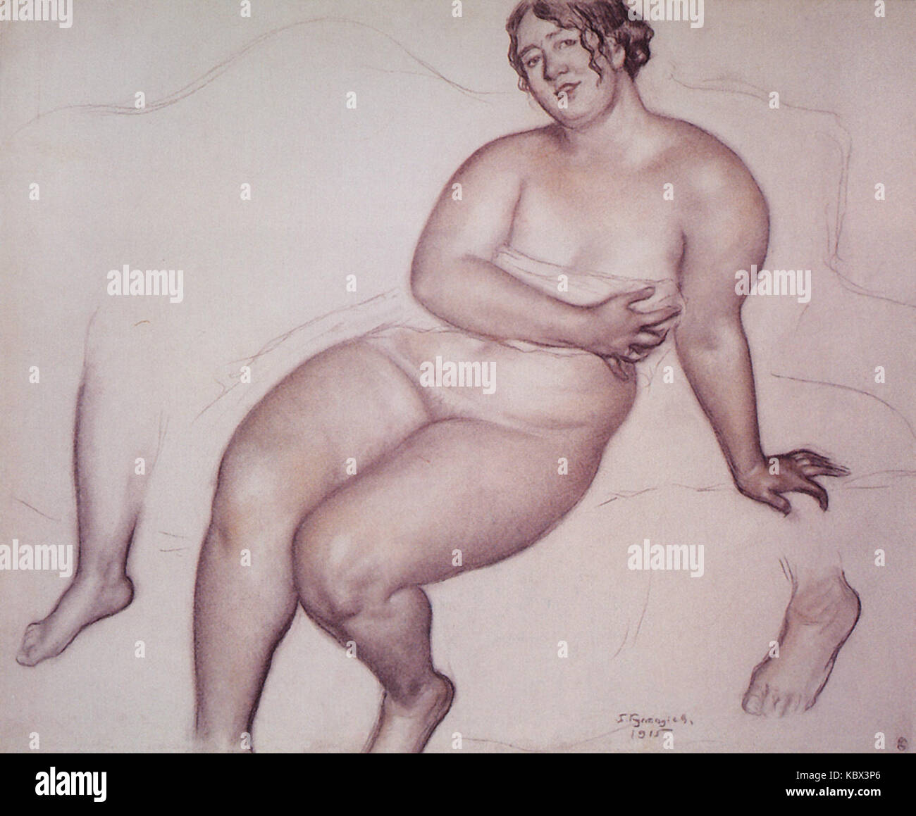 Model. Right leg, left foot   Kustodiev - Stock Image