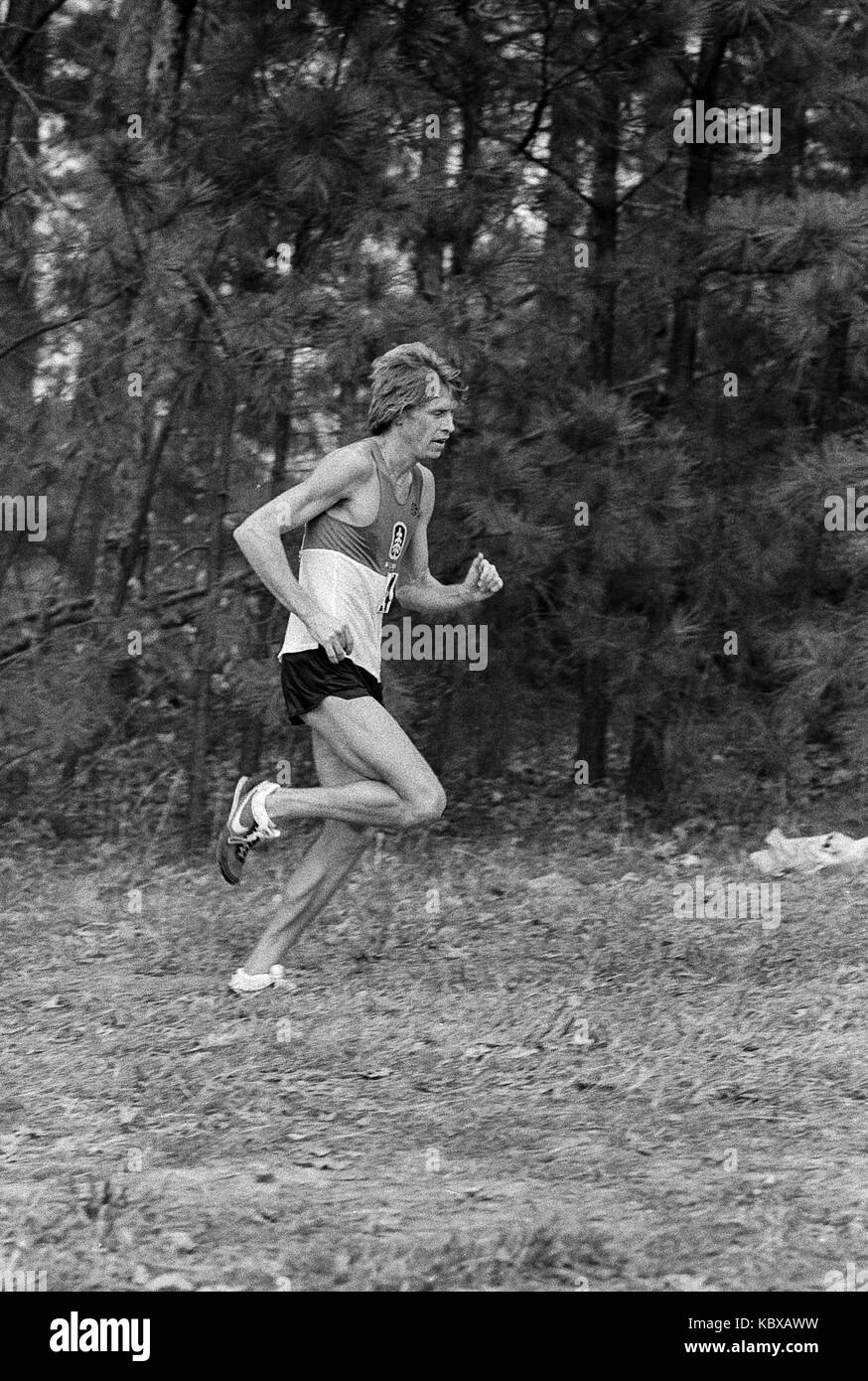 Runner  competing in the 1979 AAU Cross Country Championships. - Stock Image