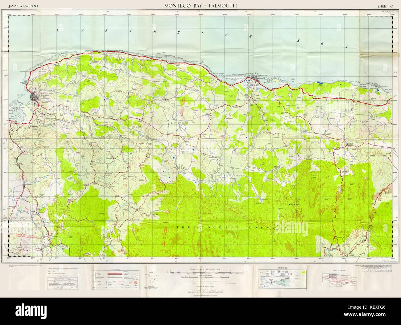 DoOS 1 to 50000 Map of Jamaica Sheet C (Montego Bay Falmouth) 1959 ...