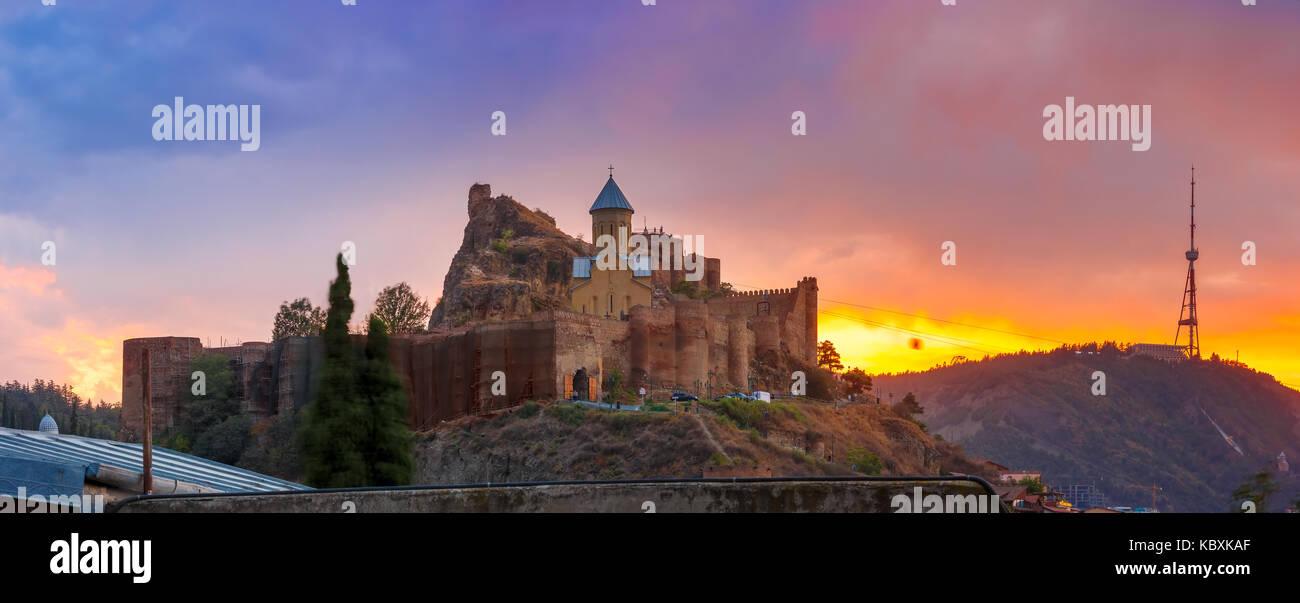 Narikala at gorgeous sunset, Tbilisi, Georgia - Stock Image