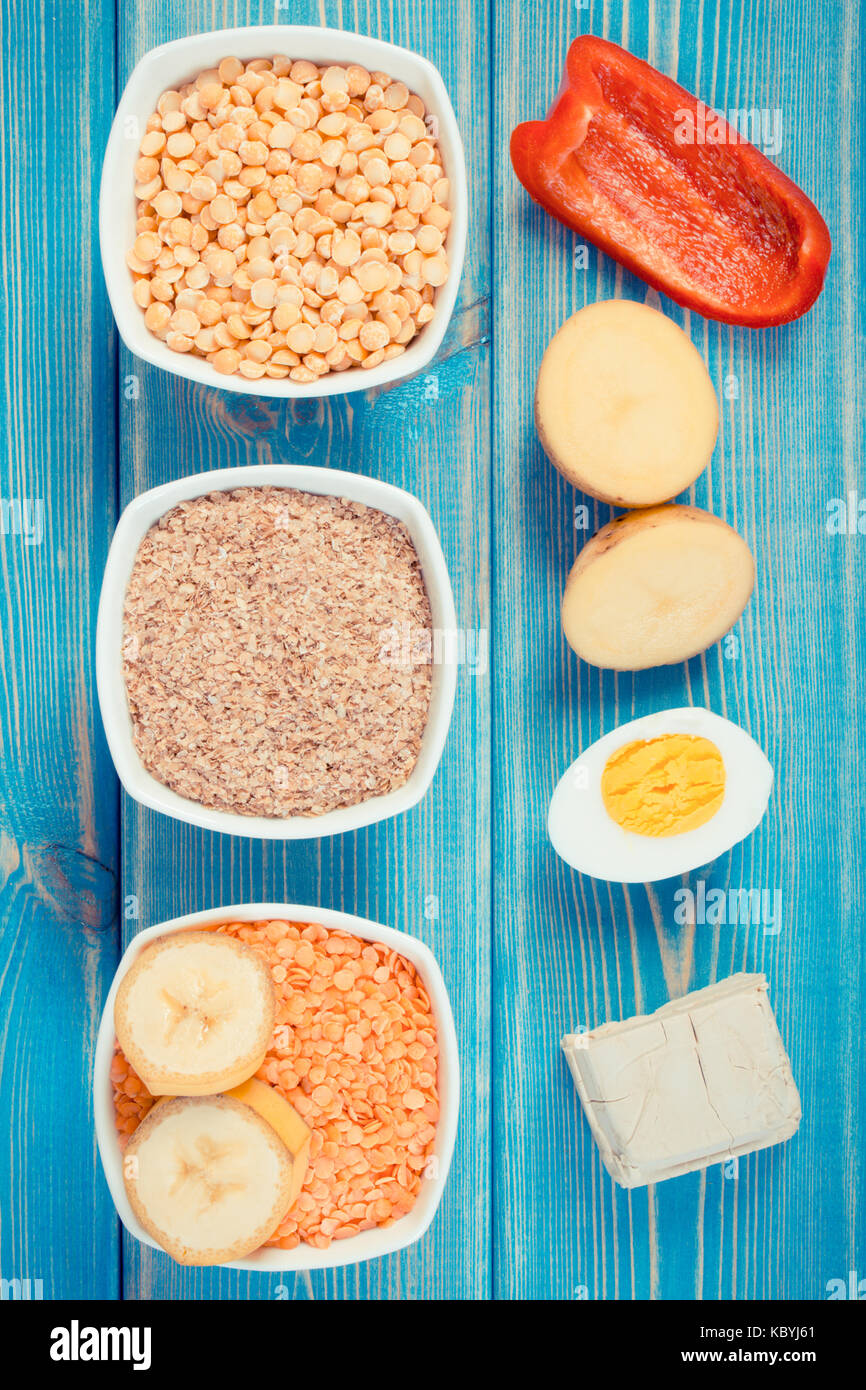 Vintage photo, Ingredients containing vitamin B6 and dietary fiber, natural sources of minerals, healthy lifestyle - Stock Image