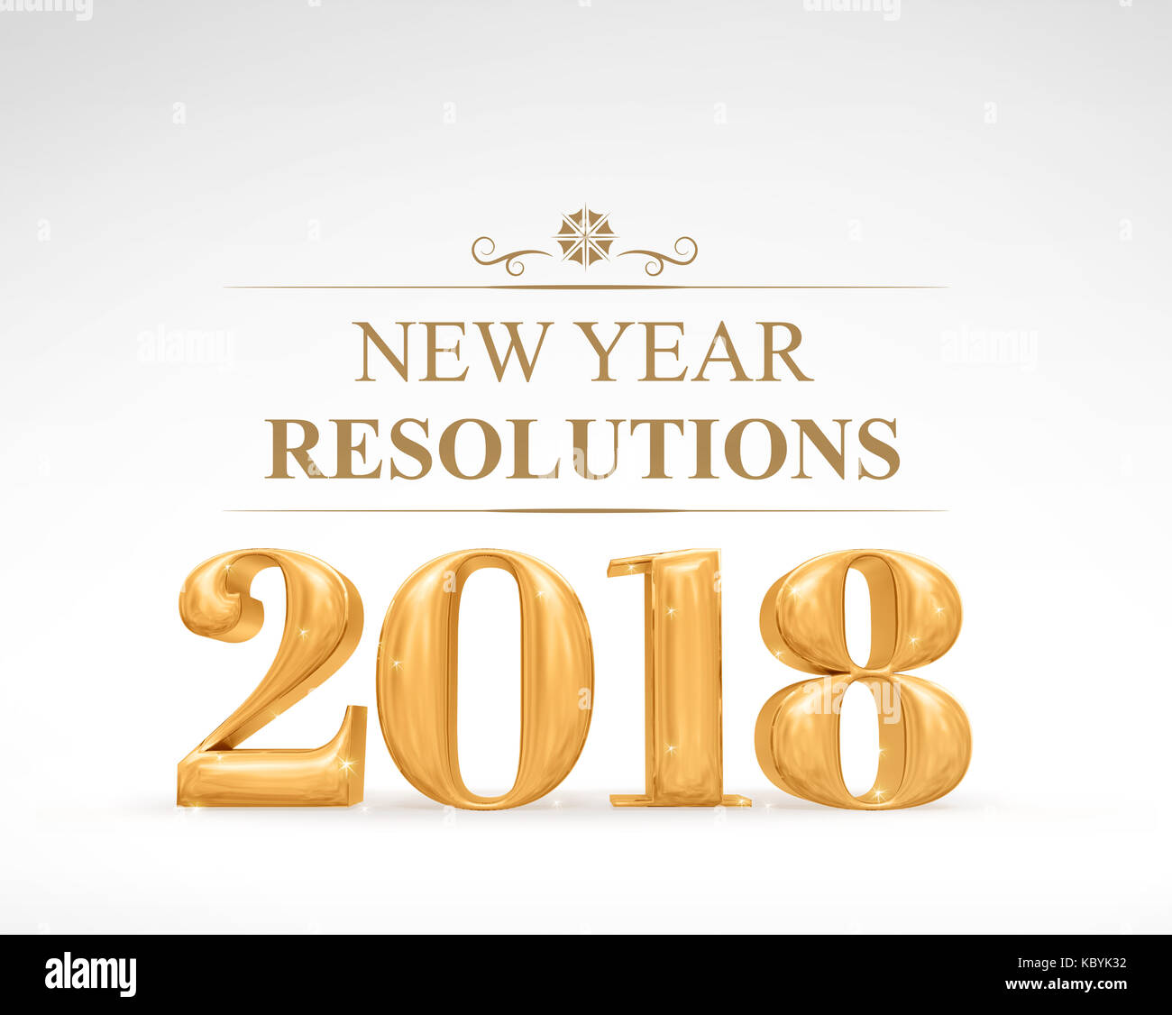 Golden color 2018 new year resolutions (3d rendering) on white ...