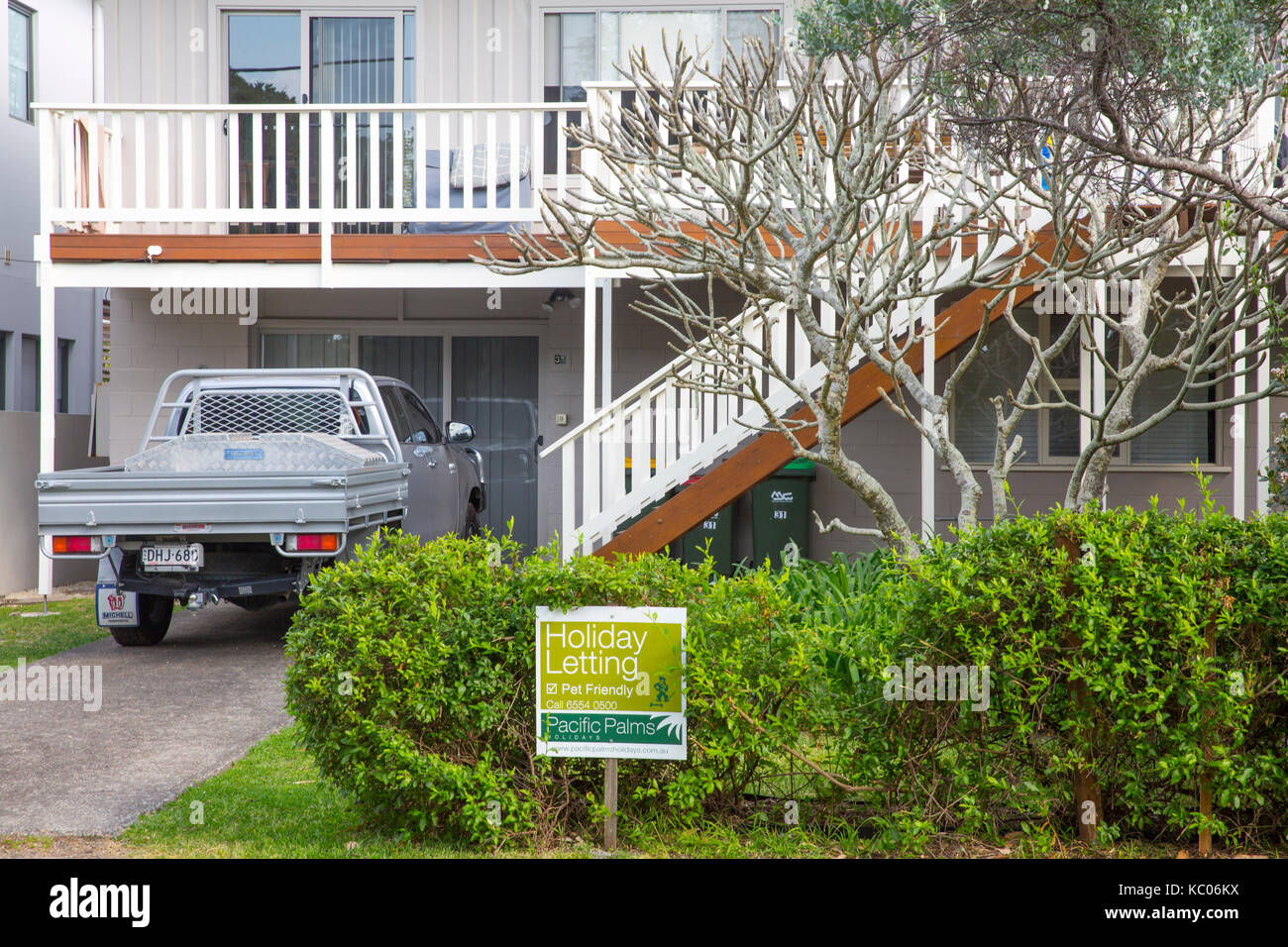 House available for holiday letting in Boomerang beach suburb in Pacific Palms on the mid north coast of new south - Stock Image