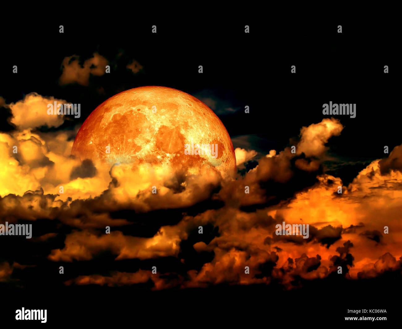 Blood moon full moon and in heap cloud, Elements of this image furnished by NASA - Stock Image