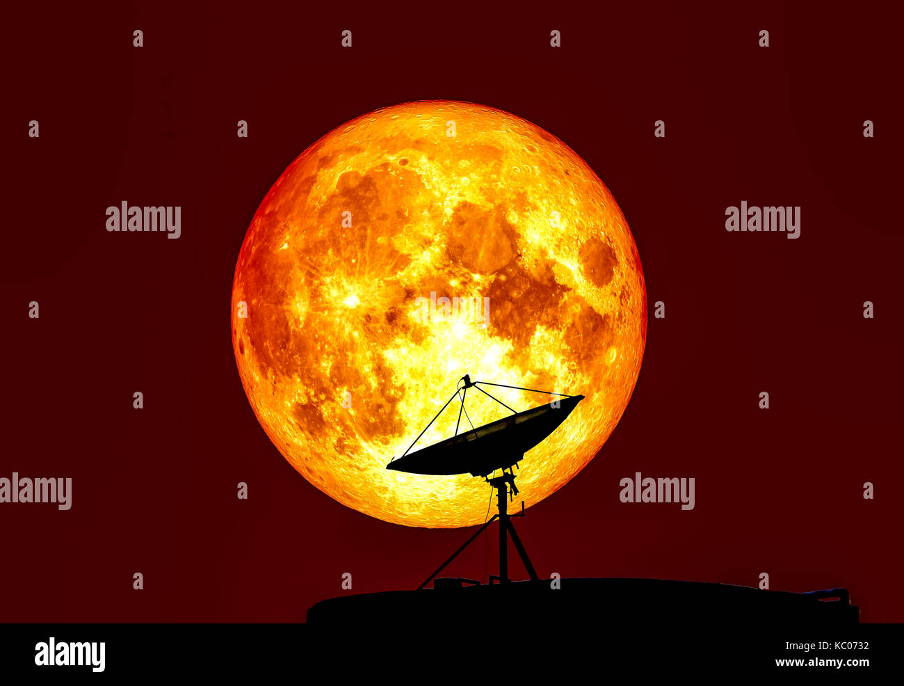 Blood moon full moon and satellite, Elements of this image furnished by NASA - Stock Image