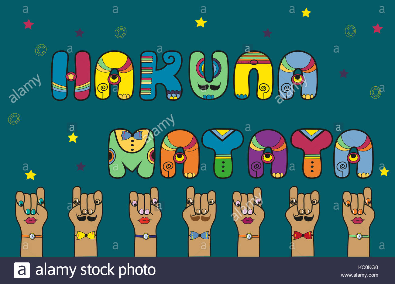 Inscription Hakuna Matata. Do not worry in suwahili. Disco Letters. Artistic font. Cartoon hands with eyes, lips, - Stock Image
