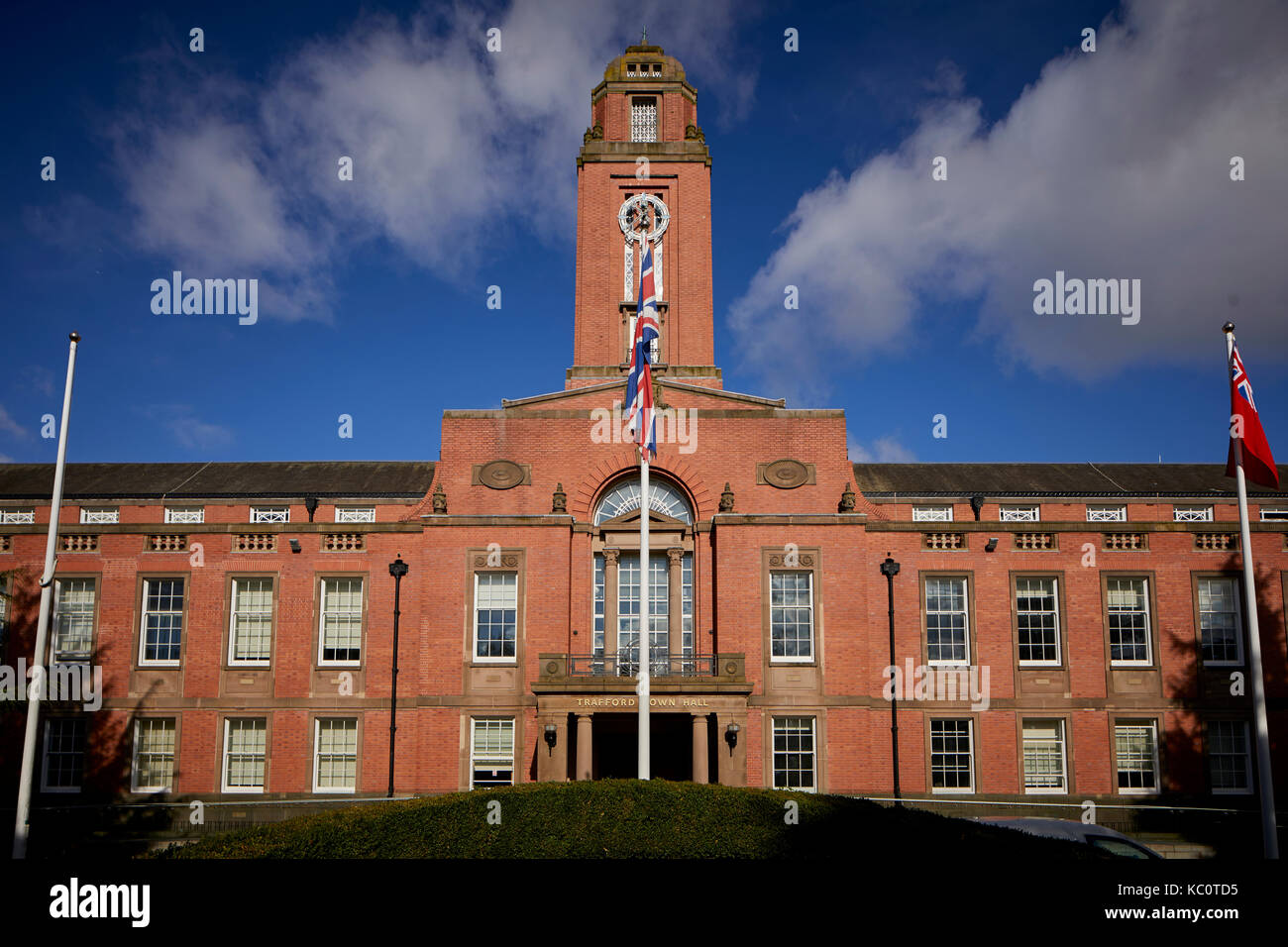 Grade II listed Trafford Town Hall in Stretford by architects Bradshaw Gass & Hope of Bolton - Stock Image