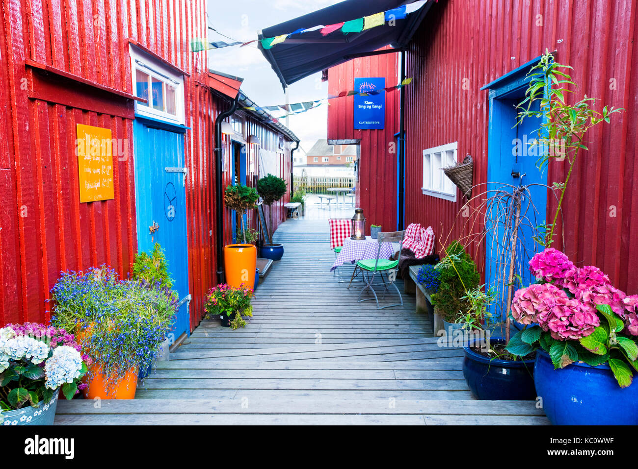 A colourful alley in the fishing village of Henningsvaer, Lofoten, Norway - Stock Image