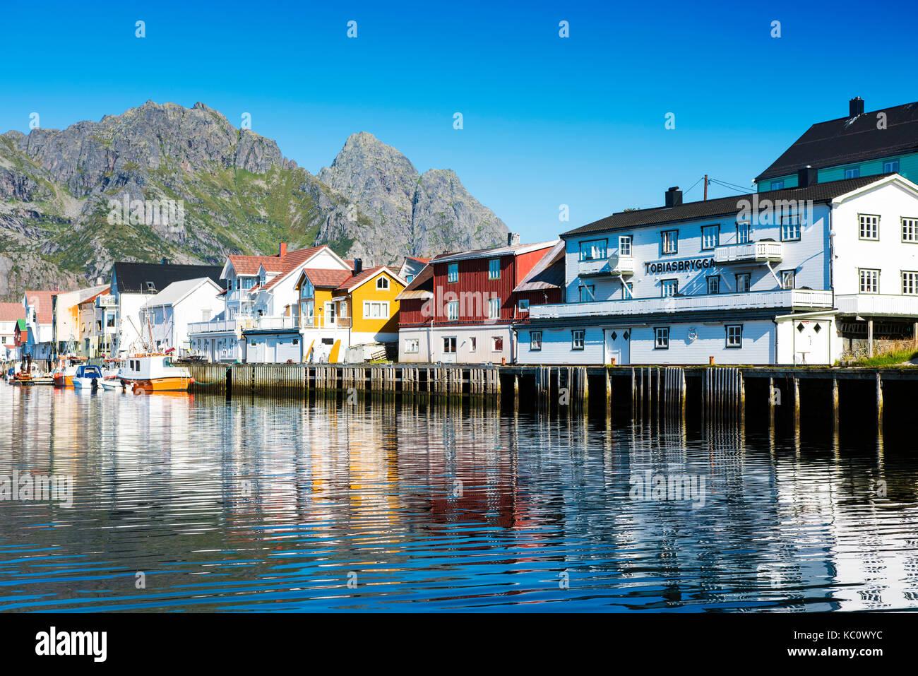 The fishing village of Henningsvaer, Lofoten, Norway - Stock Image