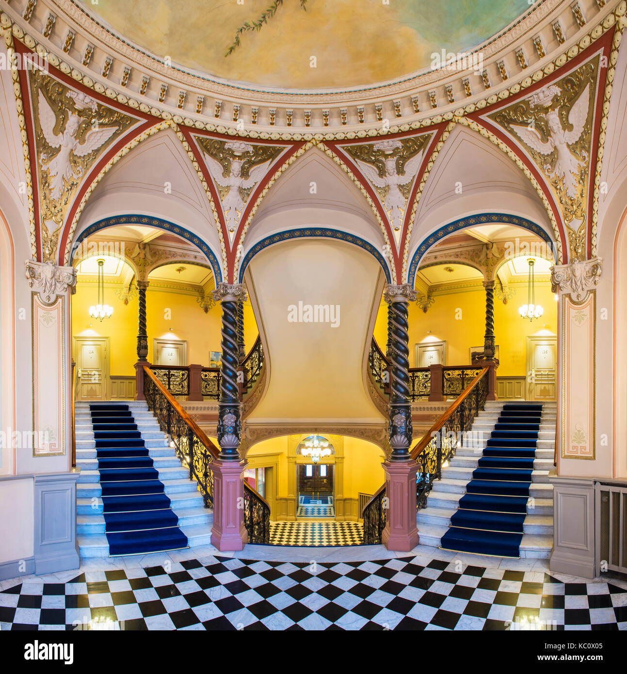 The famous staircase in Hotel Knaust in Sundsvall, Sweden - Stock Image