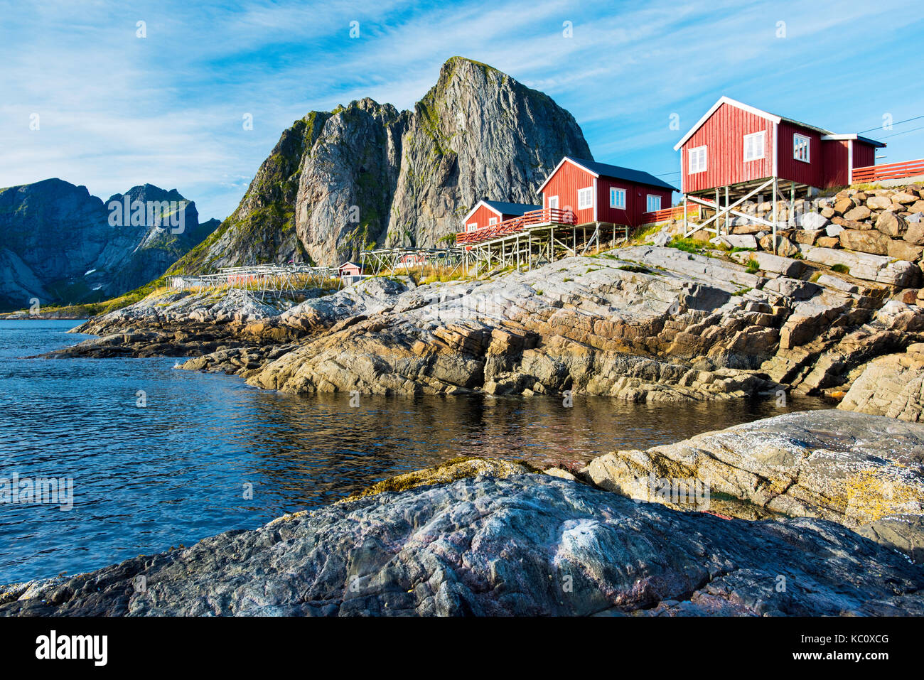 Rorbuer, traditional fisherman's cottages, in Reine, Norway - Stock Image