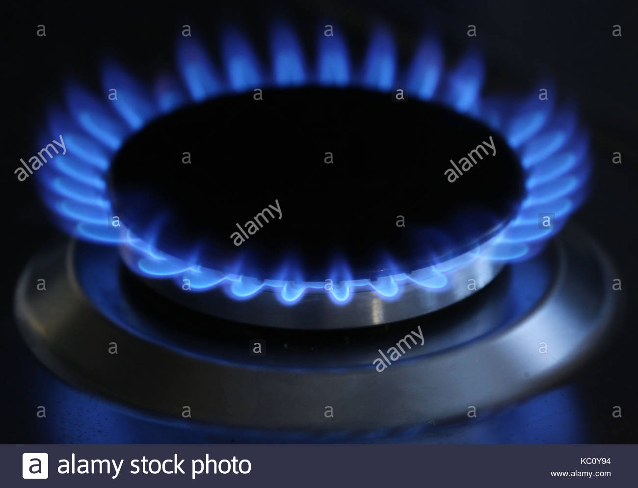 EMBARGOED TO 0001 MONDAY OCTOBER 2 File photo dated 11/10/13 of a general view of a gas hob burning, as a combination - Stock Image