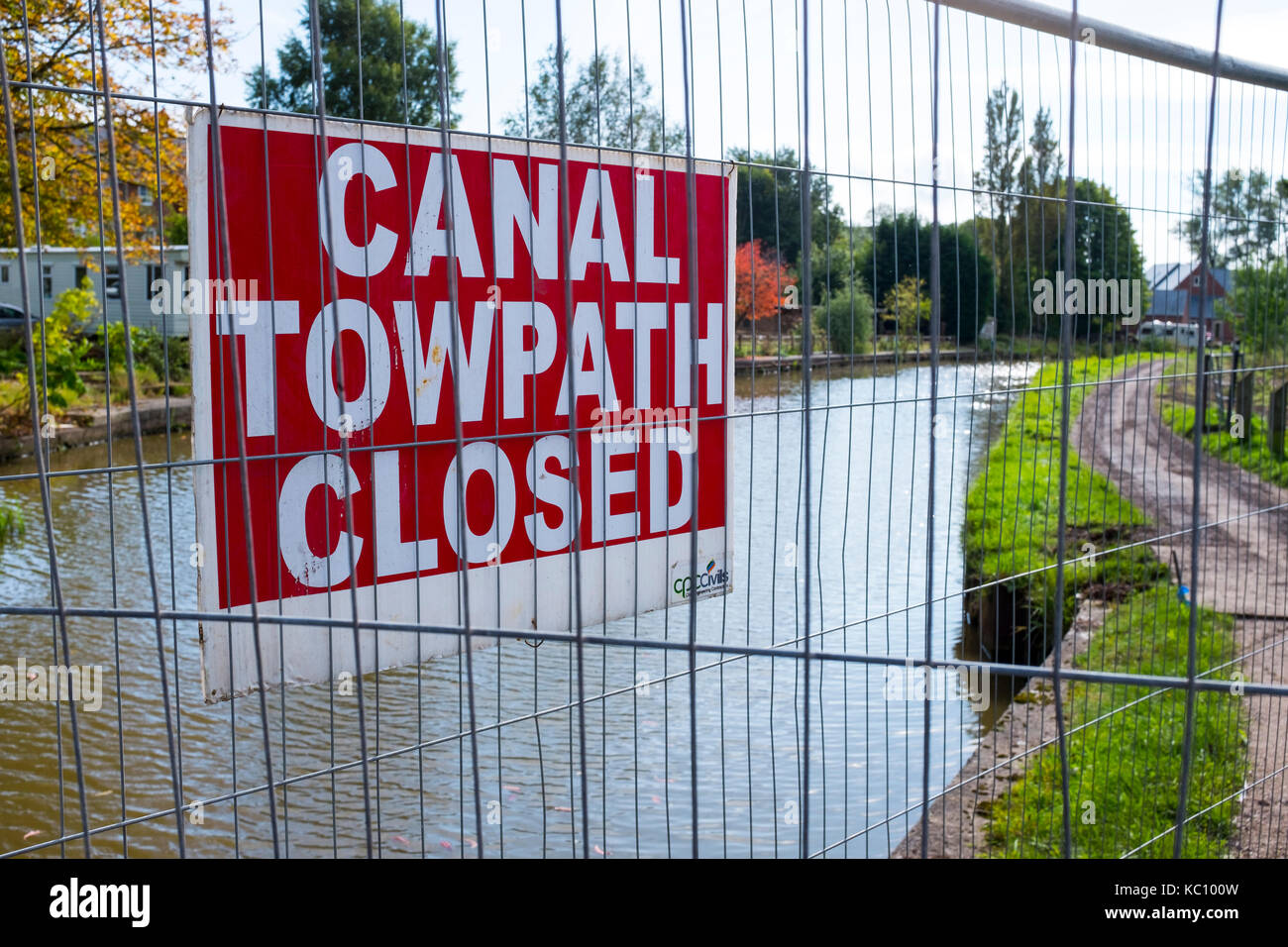 Towpath closed for improvement at Trent and Mersey Canal in Sandbach Cheshire UK - Stock Image