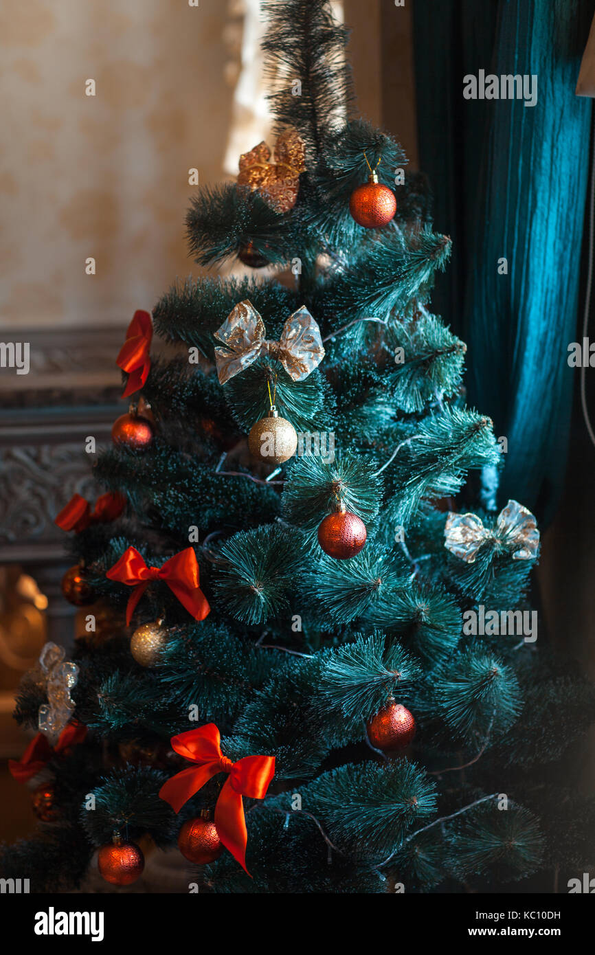Beautiful spruced Christmas tree with beautiful decoration - Stock Image