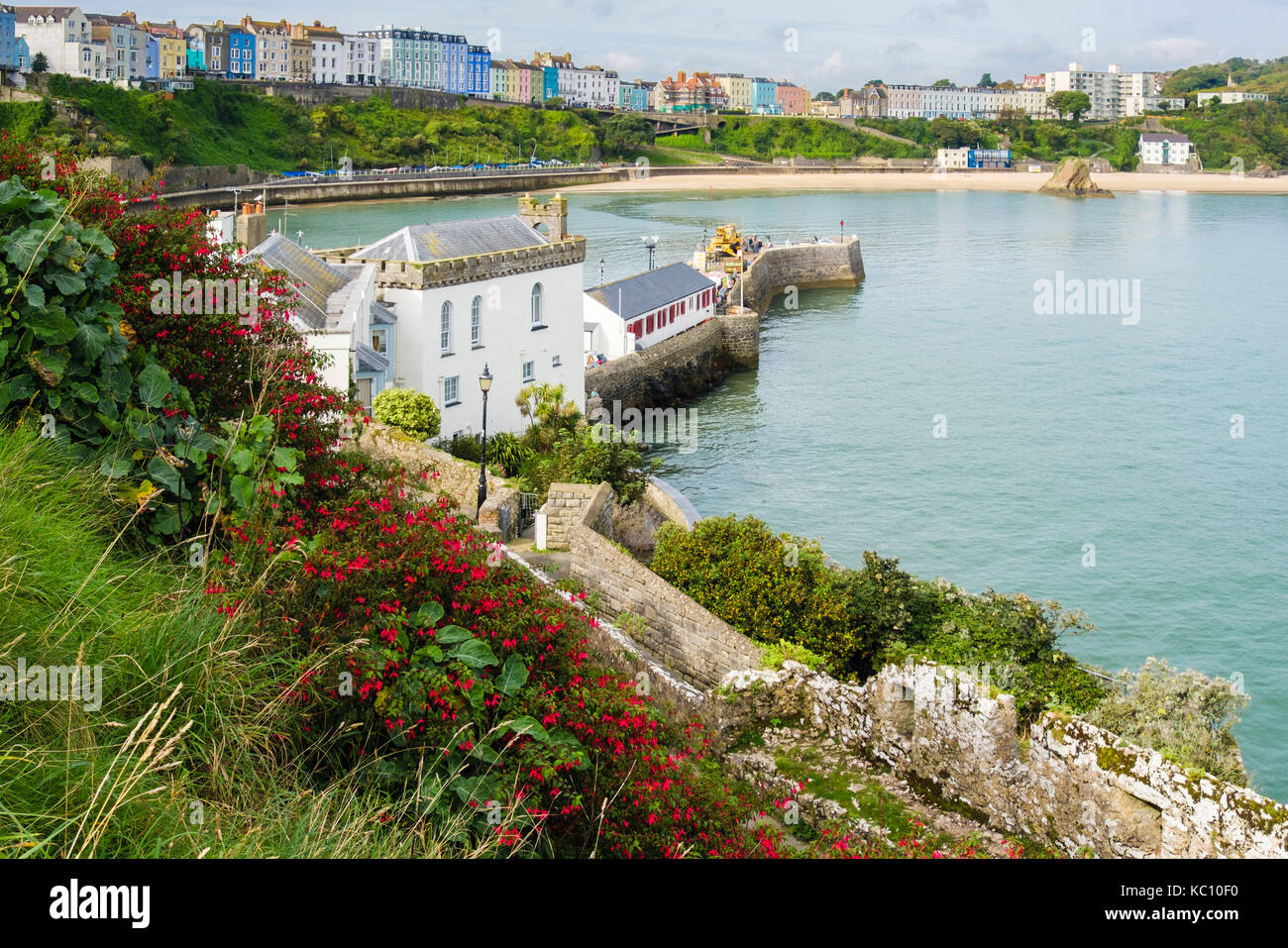 High view to North Beach and seafront from Castle Hill. Tenby, Pembrokeshire, Carmarthen Bay, Wales, UK, Britain - Stock Image