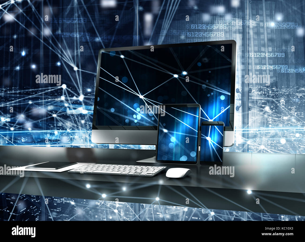 Computer, tablet and smartpone connected to internet. Concept of internet network.3d render - Stock Image