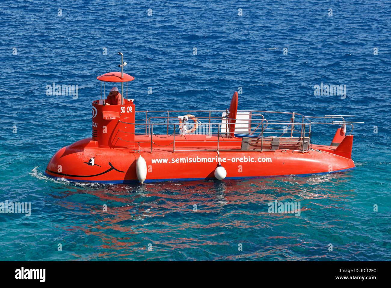 Semisubmarine, under the sea surface tours, Korcula Town, Korcula Island, Croatia, Dalmatia, Dalmatian Coast, Europe. - Stock Image