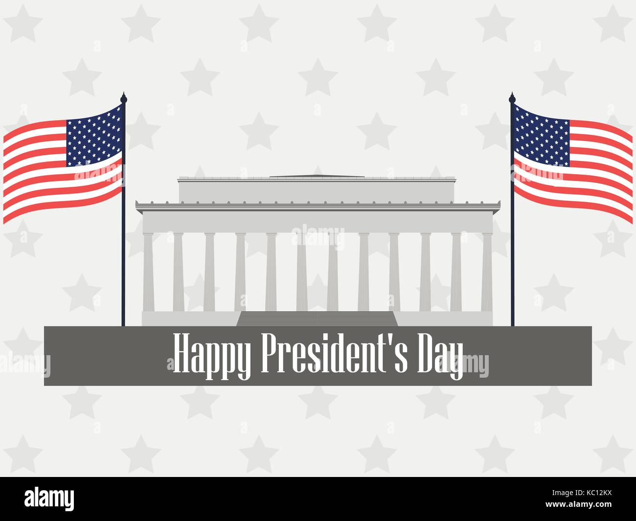 Happy Presidents Day. Poster with american flag and symbols. Vector illustration - Stock Vector