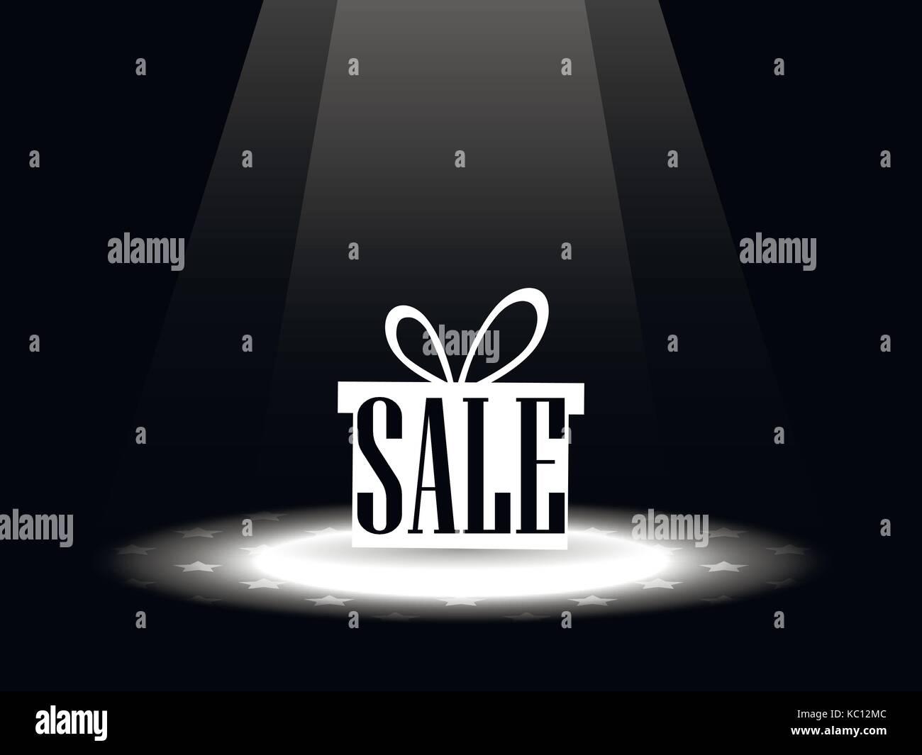 Sale. Gift box under the spotlight. Vector illustration - Stock Image