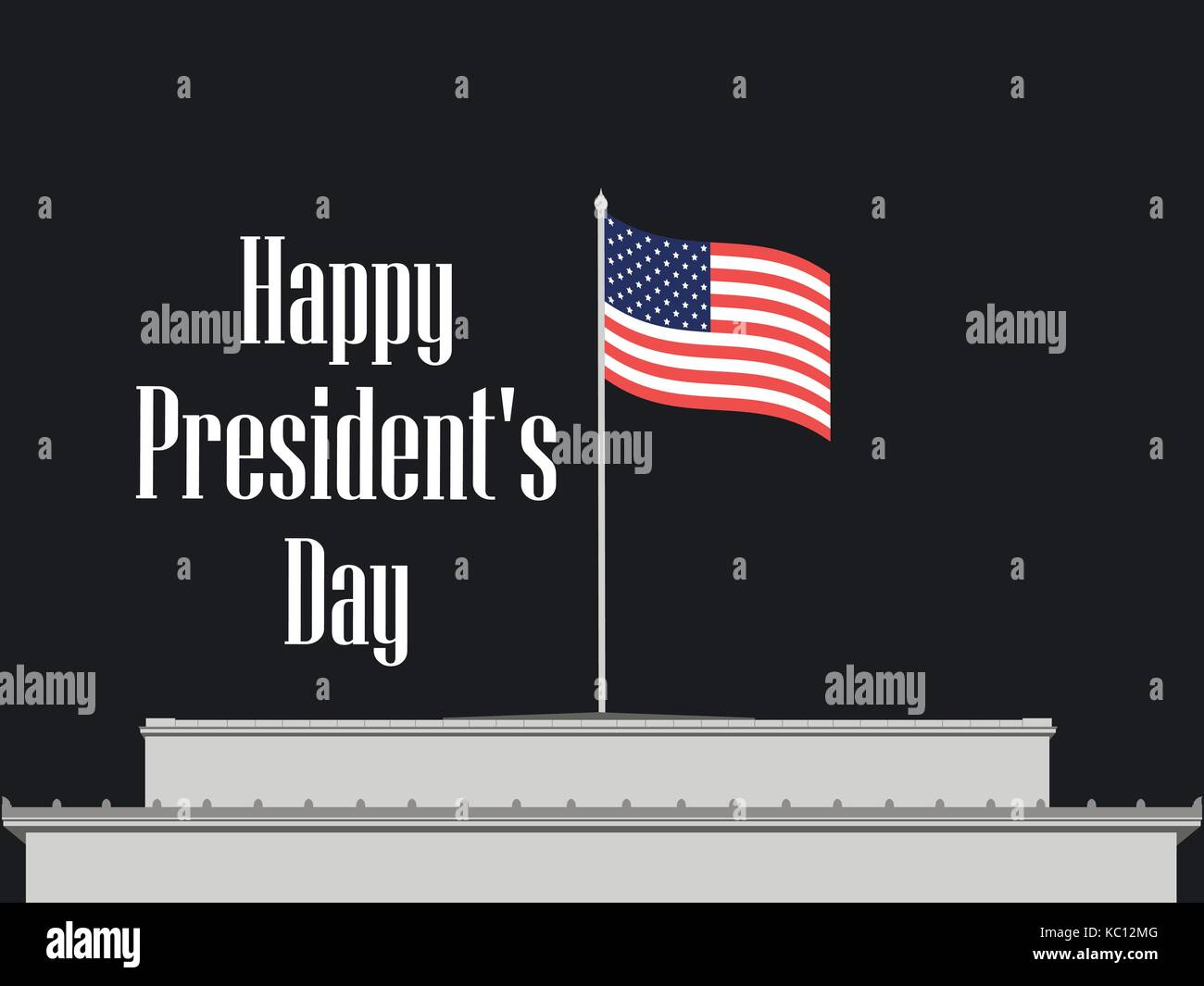 Happy Presidents Day. American flag on a building roof. Vector illustration - Stock Vector