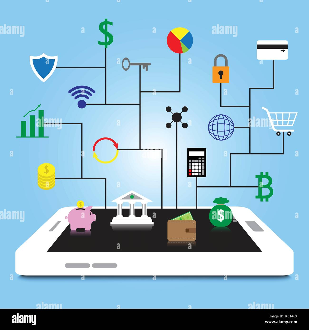 19 Fintech Colorful Icons Are Connected To White Smartphone By Black Lines On Blue Background Involving In Financial - Stock Image