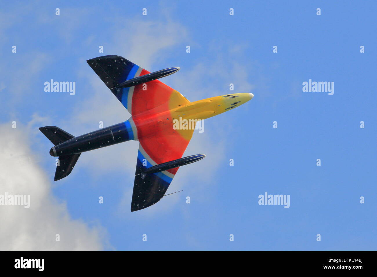 Hawker Hunter Mk 58A G-PSST Miss Demeanour in glorious technicolour at the Bournemouth Air Festival, Dorset UK - Stock Image