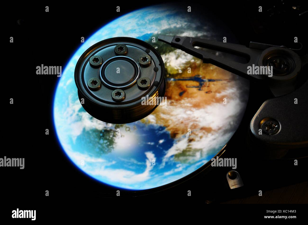 Open Hard Disk Drive of computer, with future color effects. background. - Stock Image