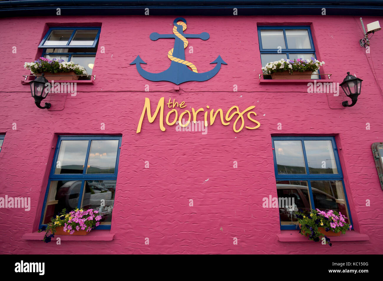 Facade of The Moorings guesthouse, Portmagee, County Kerry, Ireland - Stock Image