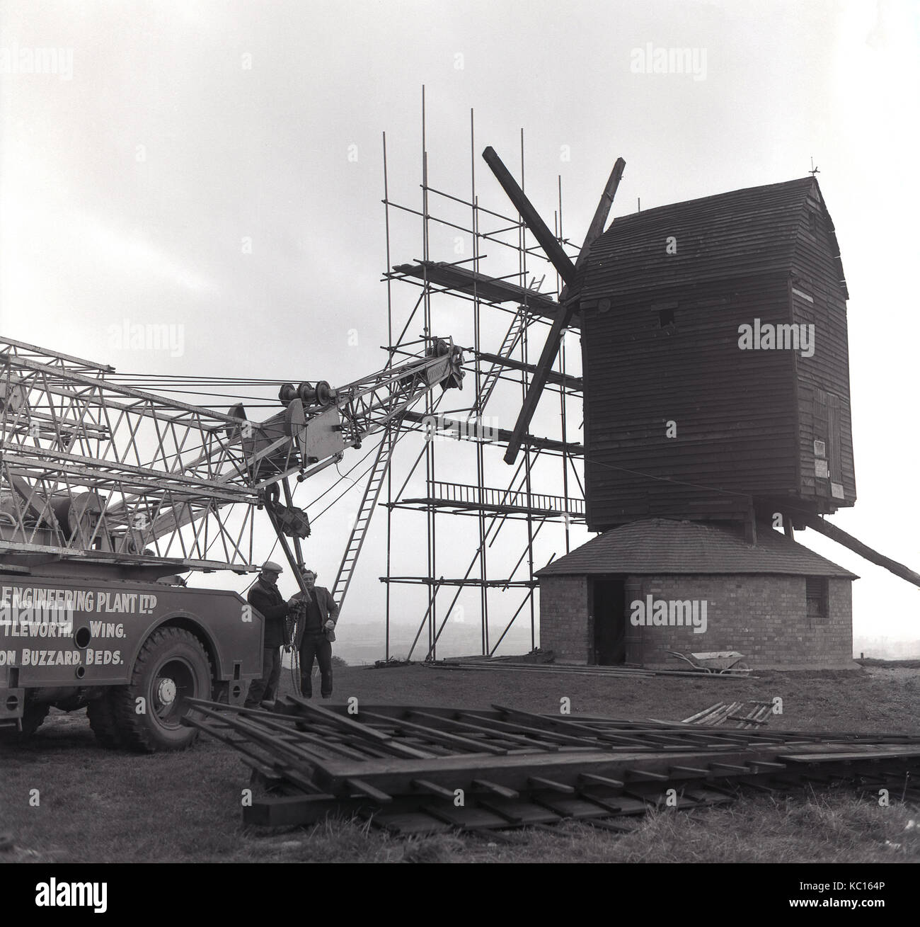 1967, historical picture of the ancient post mill, the Brill Windmill at Brill, South Hills, Aylesbury, Buckinghamshire - Stock Image
