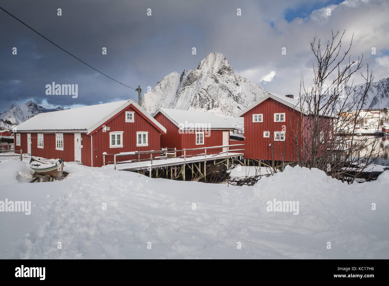 Typical houses of fishermen called Rorbu, Lofoten islands, Norway Stock Photo