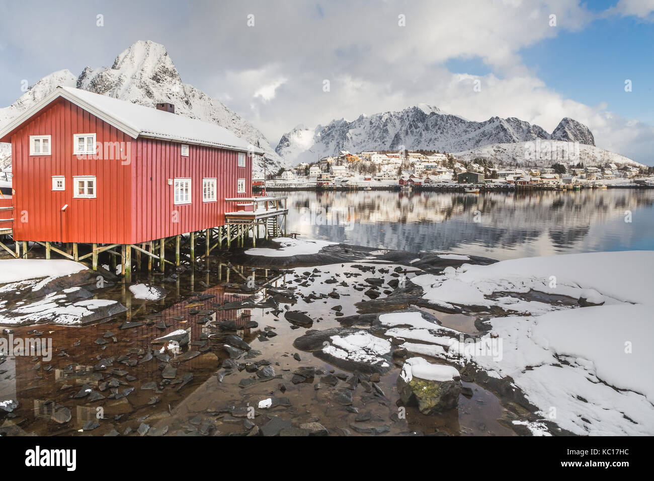 Traditional red Rorbu cabins in winter, Reine, Moskenesøy, Lofoten Islands, Norway Stock Photo