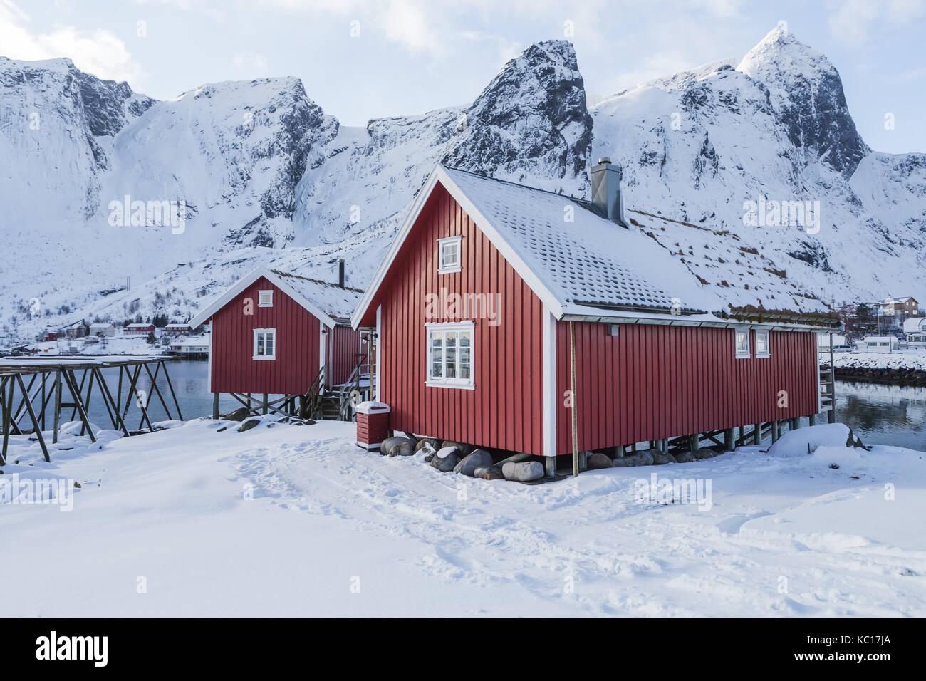 Typical houses of fishermen called Rorbu, Lofoten islands, Norway Stock Photo