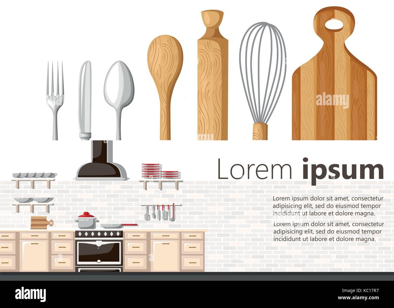 Flat Design Kitchen Concept Kitchen Equipment Background Vector