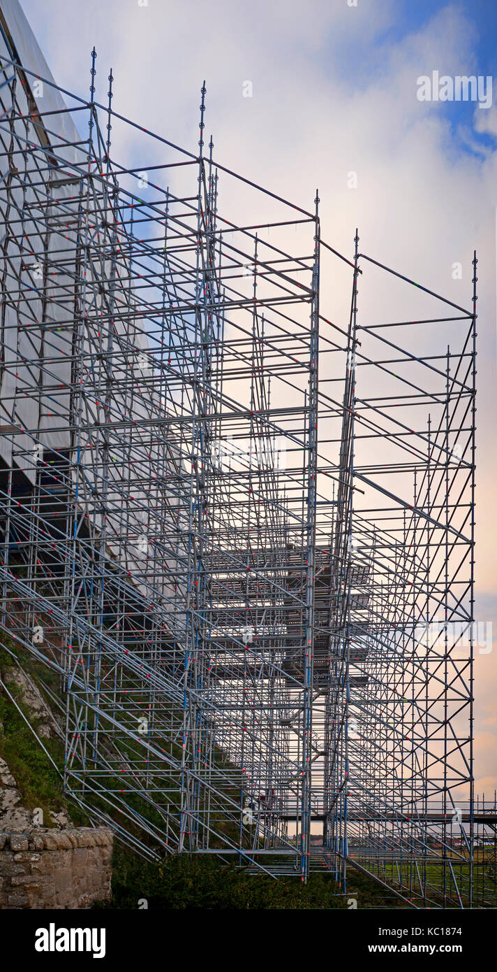 Scaffolding erected during renovations on 16th Century Lindisfarne Castle  on Holy Island, near Berwick-upon-Tweed, - Stock Image