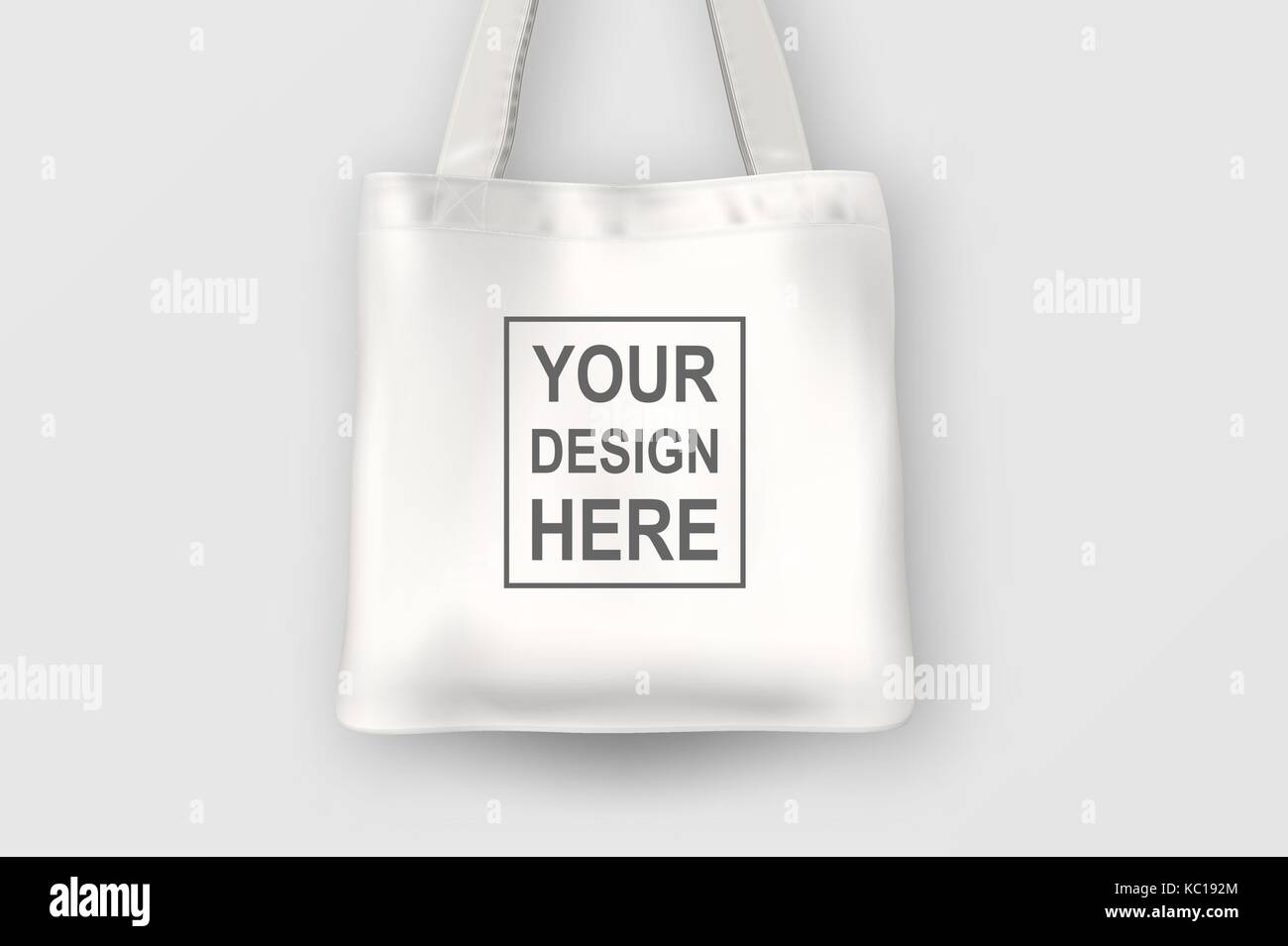 Realistic Vector White Empty Textile Tote Bag Closeup Isolated On