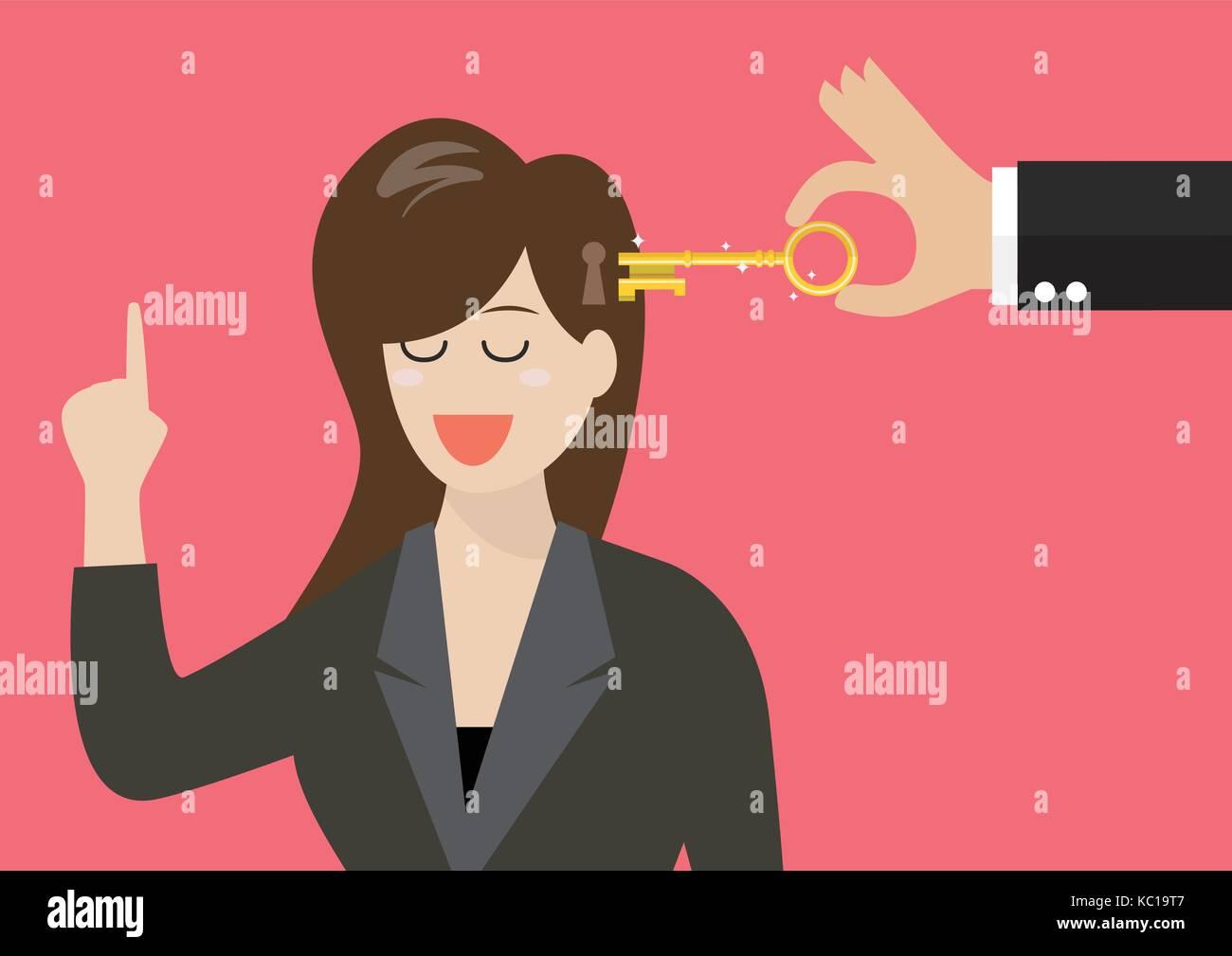 Man holding a key unlocking business woman mind. Vector illustration - Stock Image